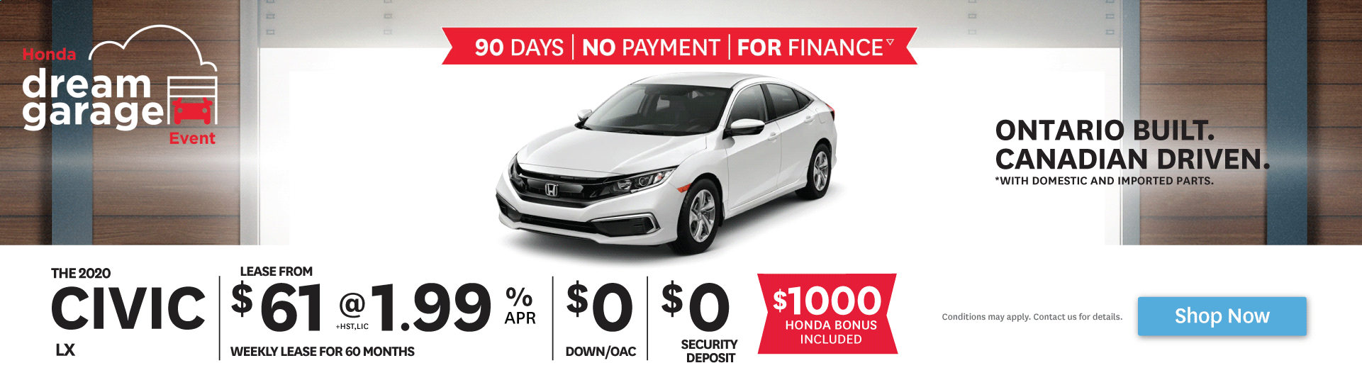 2020 Civic - 90 Days - No Payment - For Finance