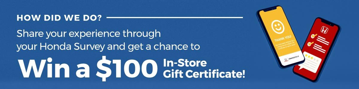 Orangeville Honda Service Win $100 Gift Card