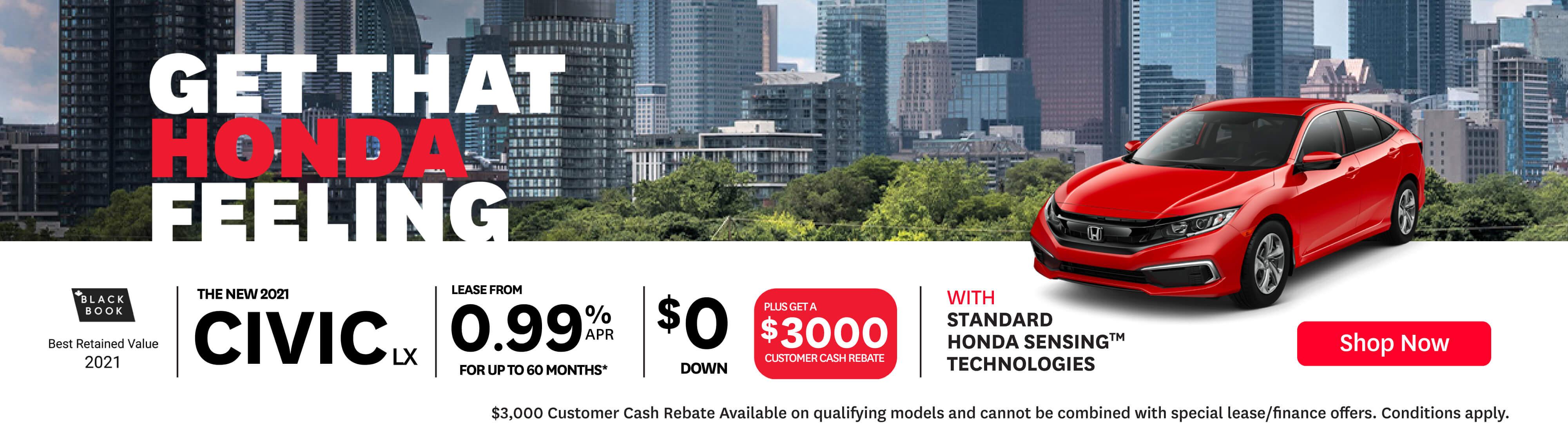 Orangeville Honda Feeling DM June 2021 2021 Civic LX