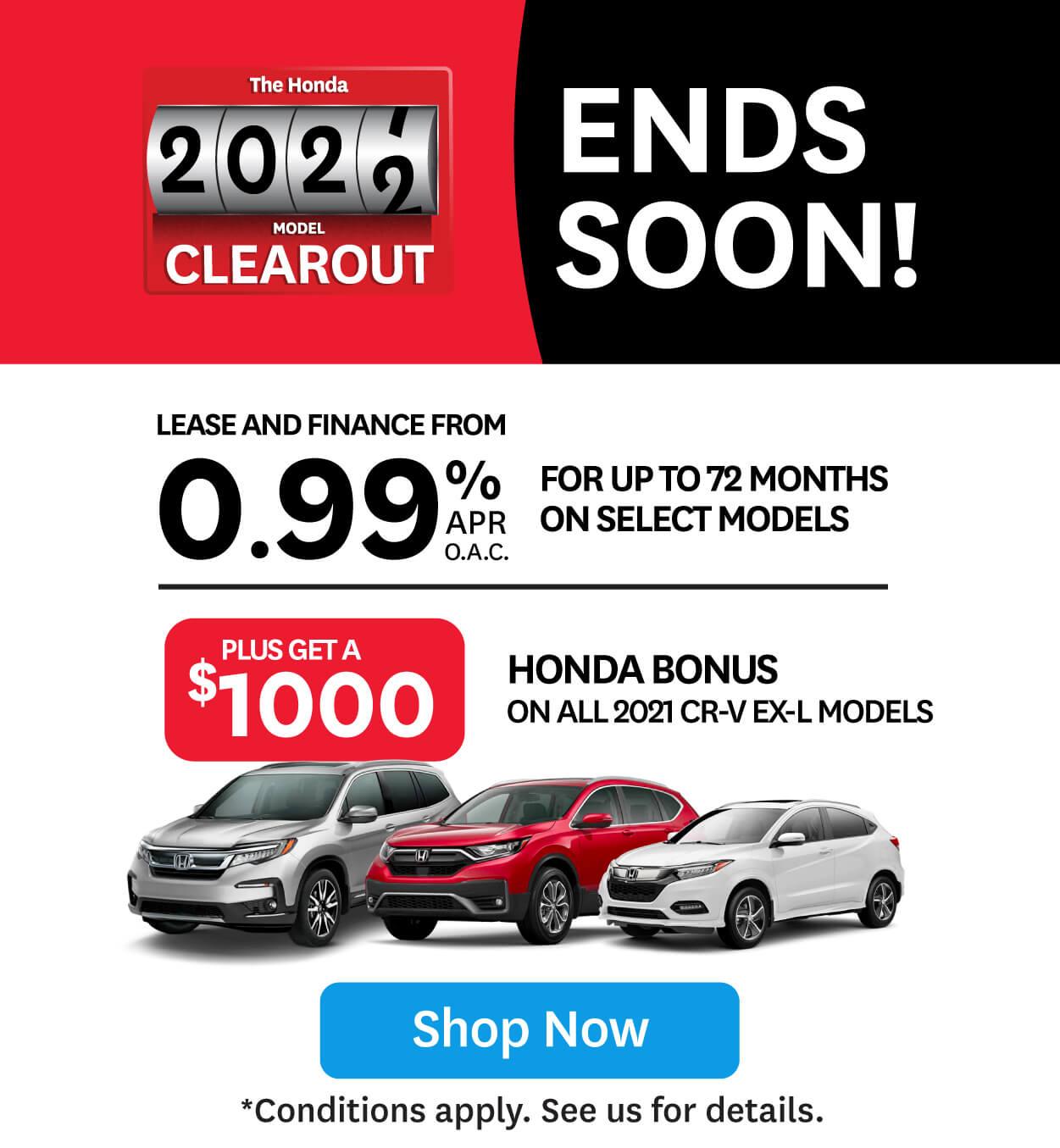 Orangeville Honda 2021 Model Clearout